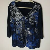 Tahari Women's Top Size XL Floral 3/4 Sleeves Black Blue Silver Casual Cotton