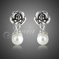White Gold Plated Rose and Mock  Pearl Drop Earrings