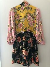 Zara Floral Patchwork High Neck Collar Dress With Bow M