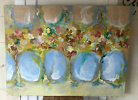 Antique Large Original Impressionist Floral Still Life Oil on Canvas Painting