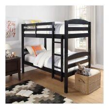 Kids Bunk Bed Twin Black Wooden Convertible Childrens Furniture Frame Bunkbed