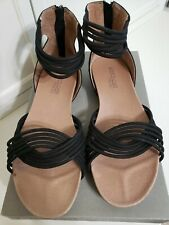 Adam Tucker by Me Too Serene8 Leather Black Strappy Gladiator Sandal size 8.5 M