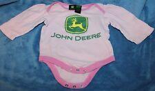 John Deere Baby Size 12M Long Sleeved Pink/Green One-Piece Romper