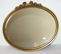 """Gold Wood Framed Oval Wall Mirror Bow and Roses 21.5"""" x 18.5"""""""