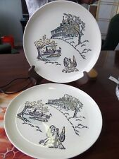 "VINTAGE HAND DECORATED OVENPROOF Set of 2 DINNER PLATES 9.5"" diameter"