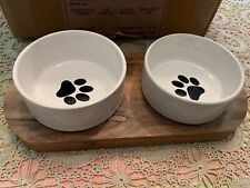 Ceramic Cat Food Bowls with Acacia Wood Stand . Stamped Purrr On Stand