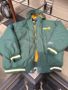 Vintage Hooded Green Bay Packers Reebok Insulated Jacket Coat Adult Size XL Rare