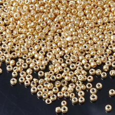 1000pcs 2mm 16g Gold Silver Tone Round Opaque Czech Glass Seed Beads Jewelry DIY