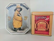 Bristolware NIB Collector Advertising Tins, Uneeda &  Lipton
