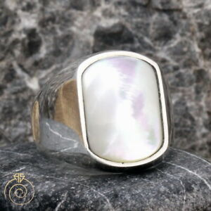 Men's Rectangle Natural Mother Of Pearl Ring White Gemstone Promise Mop Jewelry