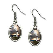 Portland Head Lighthouse Maine Sun Rays - Dangling Drop Oval Charm Earrings