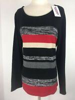 Allison Daley Womens size Large Pullover Stripe Sweater Black Stripe Career NEW