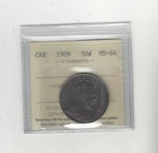 1909 , ICCS Graded Canadian Silver 50 Cent, **MS-64**