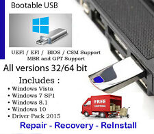 USB 64GB & DVDs Technician ToolKit Windows 7, 8.1, 10 WITH DRIVERS INCLUDED w/HD