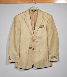 NEW Jos. A. Bank Tropical Blend Linen & Silk Beige Herringbone Sport Coat 38R