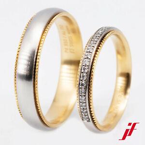 Wedding Rings Instant Furrer Jacot 950er Palladium Yellow Gold Diamonds D=52 H=