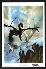 Ciruelo Cabral SIGNED Mini Fantasy Art Print Battle White Dragon vs Black Dragon