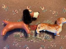 2 Vtg Daschund Weiner Dogs 1) Bone China Figurine Japan & 2) vinyl leather