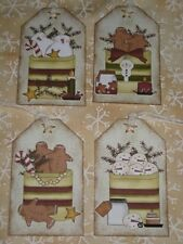 Primitive 12 Winter Snowman & Gingerbread Hang Tags