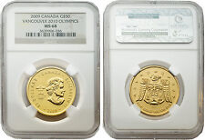 Canada 2009 Vancouver 2010 Olympics $50 1 oz Gold NGC MS 68