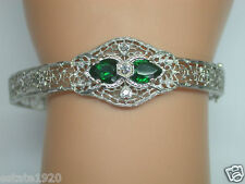 Antique Art Deco Vintage Estate Diamond Filigree Bracelet 14K White Gold Fits 7""