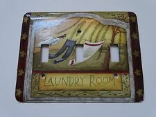 LAUNDRY ROOM CLOTHES PINS TRIPLE LIGHT SWITCH COVER PLATE COUNTRY HOME DECOR