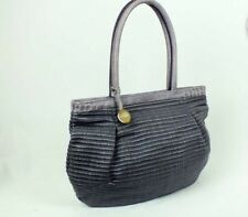 FURLA Leather and Woven Fabric straw Shoulder Hobo Bag Lavender Purple