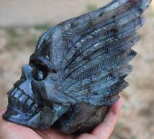 1455g Natural Crystal Skull labradoriter Crystal healing  Huge quartz skull