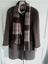 VINTAGE **BHS** wool blend brown coat with scarf - Size 14