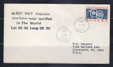 Canada Cover-Scott #387-Alert to Usa-Northern most outpost-addressed
