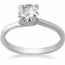 G/SI 1 ct Diamond Solitaire Engagement Ring 14K White Gold Round Cut Enhanced