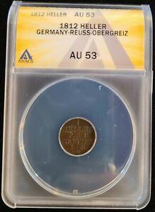 1812 German Reuss-Obergreiz Copper Heller Coin ANACS AU53 Heinrich XIX Lion