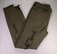 Angel Kiss Juniors Ankle Army Green Distressed Stretch Jeans Size 9