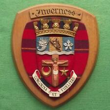Vintage Old Scottish Carved Oak Clan Inverness Plaque Crest Shield