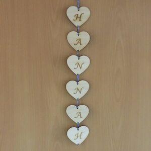 Holzherz mit Buchstaben graviert, Deko und Basteln 8cm EHS