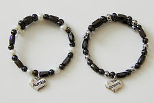 MAGNETIC HEMATITE BRACELET NATURAL  THERAPY  WITH FAMILY MEMBER CHARM GIFT