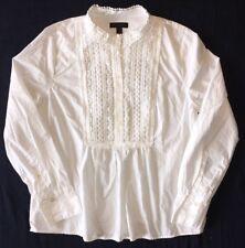 J Crew 00 Popover Shirt Lace Bib NWoT $88 White g8647 Cotton