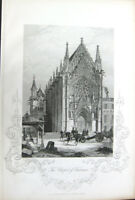 Gothic Church CAthedral SAINTE-CHAPELLE de VINCENNES ~ 1853 Art Print Engraving
