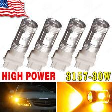 4 X Amber/Yellow 3157 High Power 30W LED Turn Signal Light Bulbs 3047 12V-24V