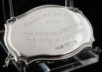 Silver Decanter Label with Presentation Inscription, Birmingham 1991