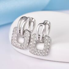 Unique Square White Gold Filled Clear Topaz Dangle Leverback Earrings For Women