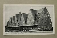 BB3) Architektur Köln 1925 Lagerhaus am Rheinufer Gleise Wagons