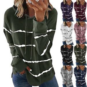 Womens Pullover Sweatshirt Blouse Striped Loose Hooded UK Ladies Hoodies Tops