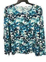 Lands End Womens Blue White Floral Tropical Top Sz 2X Nylon Stretch Long Sleeve