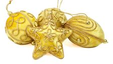 Gold Fabric Thread Star Ball Lot of 4 Christmas Ornament Holiday Decoration