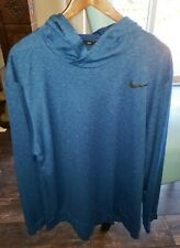 Nike Dri-Fit Men's Lightweight Long Sleeve Hoodie Shirt Blue Size Xxl