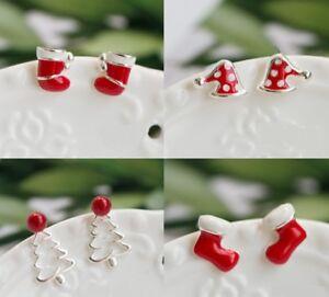 925 Sterling Silver Earrings Studs Christmas Set Tree Hat Boots Socks