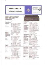 Telefunken Service Manual für HR 4000 mit Chassis 2000