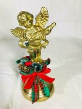 """Vintage Brass Christmas holiday Angel Bell 5 1/2"""" Tall Bow Holly Free Shipping"""
