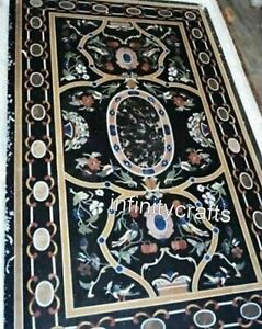 36 x 72 Inch Marble Dining Table Top Floral Design Inlaid Hallway Table for Home